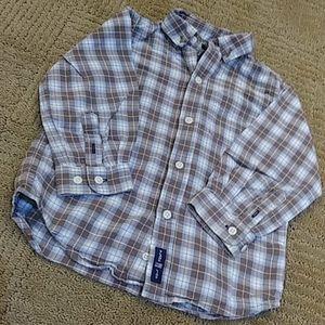 Soft plaid button down shirt 18-24 mos.  Exc cond